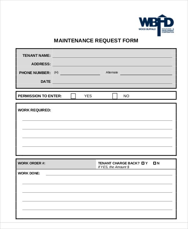 Maintenance Request Form Service Request Forms Templates Free Excel Request  Form .