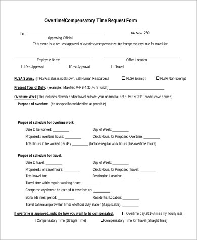9+ Sample Overtime Request Form - Examples in Word, PDF