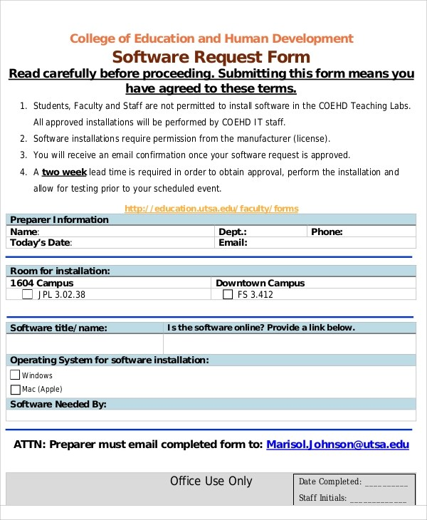... Sample Excel Request Form   12+ Examples In Excel   Software Request  Form ...