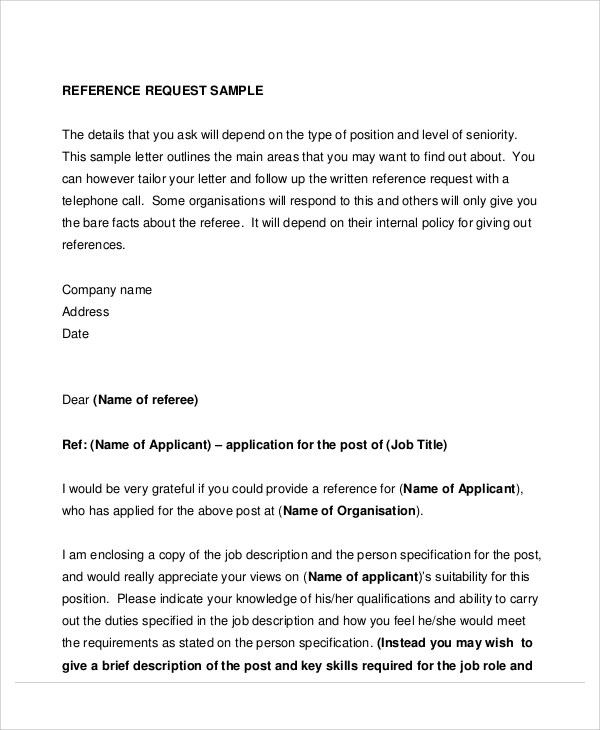 8+ Sample Reference Request Letters Sample Templates