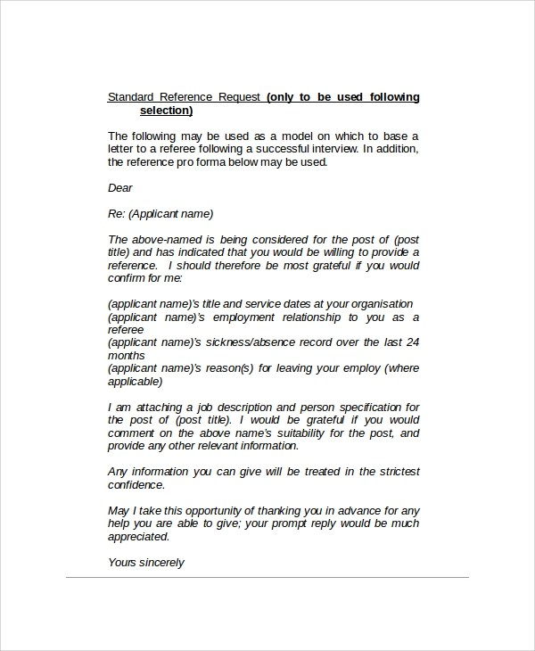 Sample Reference Request Letters   8+ Examples In PDF, Word   Employment Reference  Request