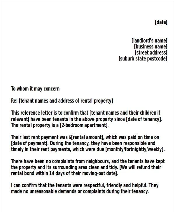 5+ Sample Tenant Recommendation Letters Sample Templates - tenant reference letter