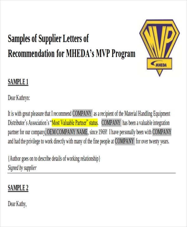 9 Sample Business Recommendation Letters Sample Templates