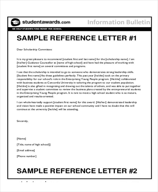 7+ Sample Reference Letter for Students Sample Templates