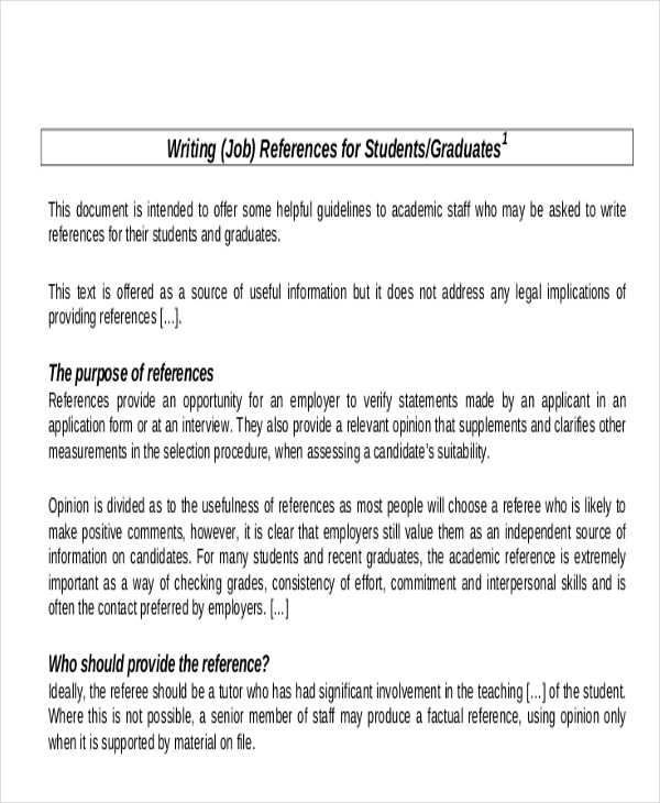 Sample Reference Letter For Student - Examples in PDF, Word
