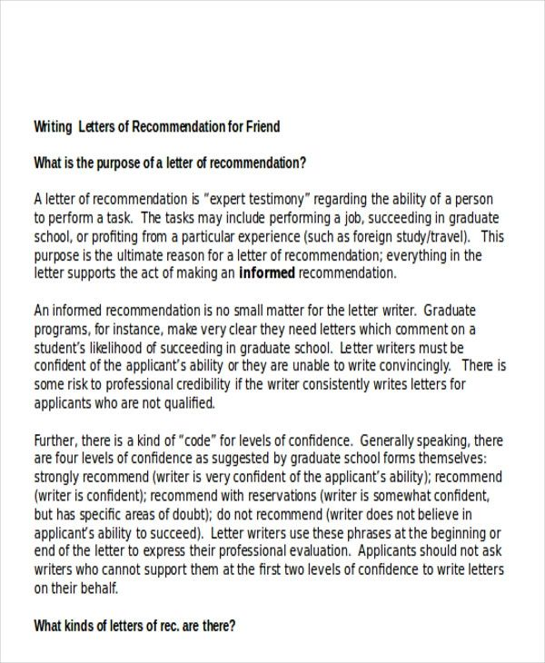 how to write a letter of recommendation for a friend