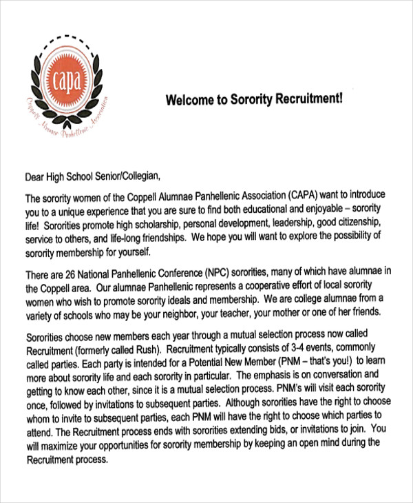 7+ Sample Sorority Recommendation Letters Sample Templates