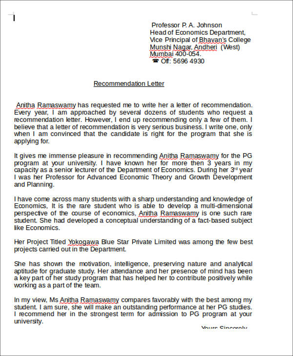 6+ Sample Teaching Position Recommendation Letters Sample Templates