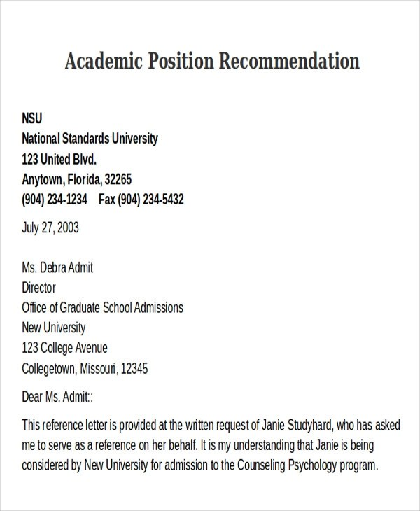 8+ Sample Academic Recommendation Letter - Free Sample, Example