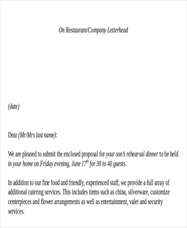 Sample Catering Proposal Letter - 8+ Examples in PDF, Word - catering quote template
