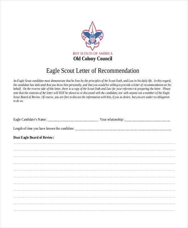 eagle scout letters of - eagle scout letter of recommendation