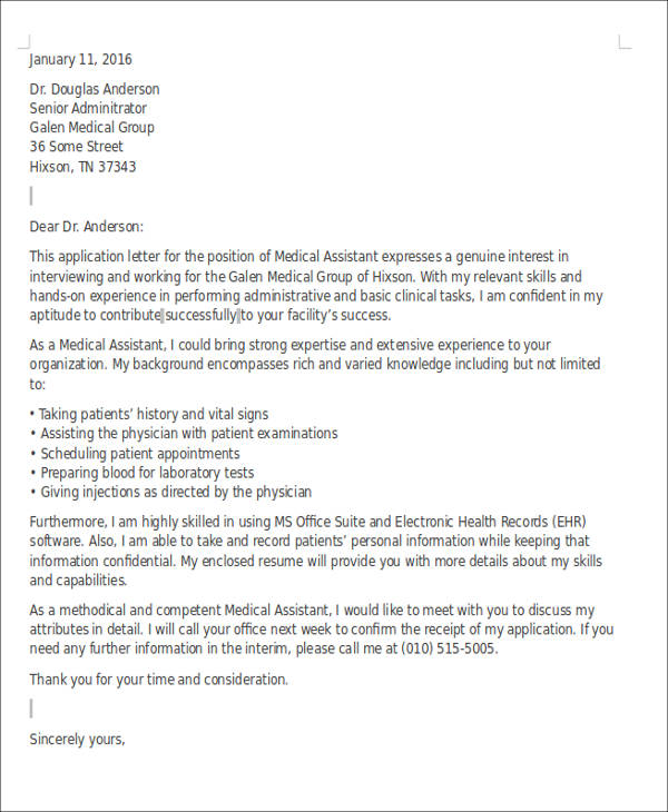 medical assistant cover letter templates