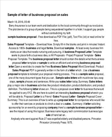 6+ Sample Sales Proposal Letters - PDF, Word