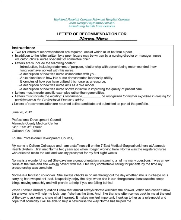 Reference Letter For Nurse Co Worker Gallery - Letter Format Formal - nursing recommendation letter