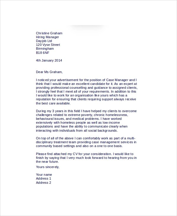 Case Worker Cover Letter create my cover letter professional - case manager cover letter