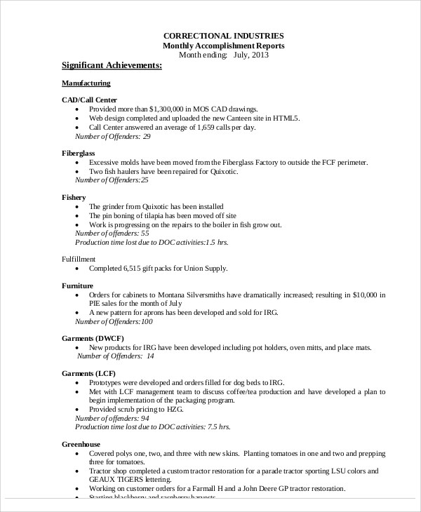 8+ Accomplishment Report Samples \u2013 PDF Sample Templates