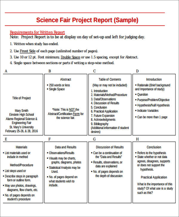 Sample Science Project Report - 9+ Examples in Word, PDF
