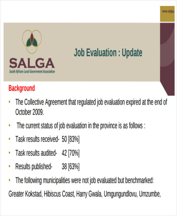Sample Job Evaluation Report - 8+ Examples in Word, PDF - job progress report