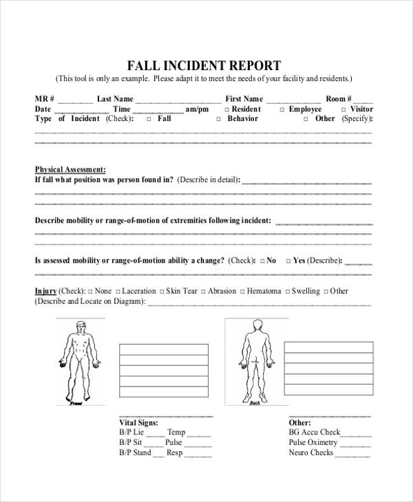 fall incident report - Onwebioinnovate