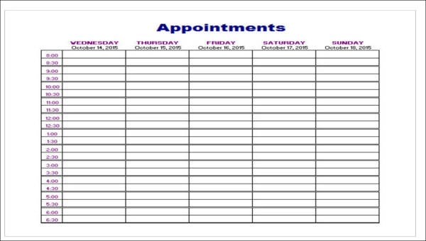 5+ Appointment Planner Samples - Examples in Word, PDF
