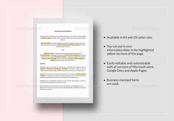 15+ Simple Commercial Lease Agreements Sample Templates