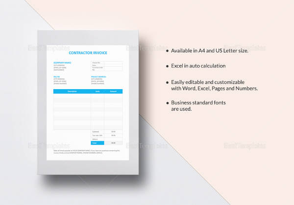Sample Contractor Invoice - 11+ Examples in PDF, Word, Excel - pages invoice template