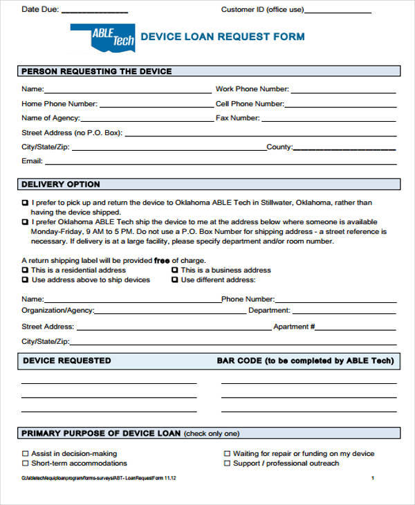 Sample Loan Request Forms - 12+ Examples in Word, PDF - loan request form