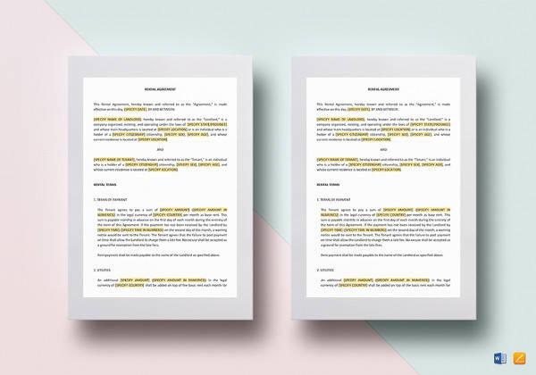 Sample Tenancy Agreement - 16+ Examples in Word, PDF