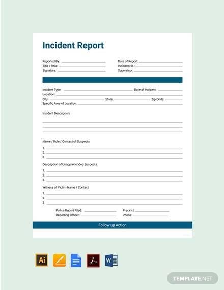 food incident report sample