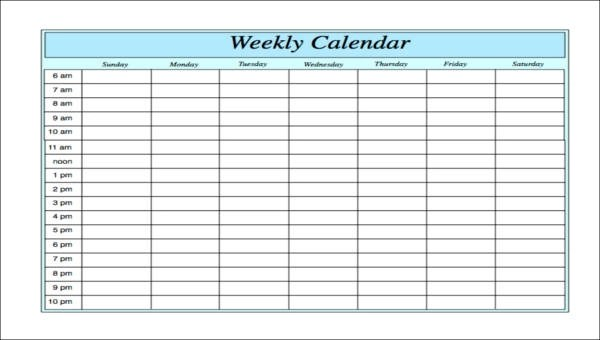6+ Free Sample Weekly Calendars- Free Sample, Example, Format Download