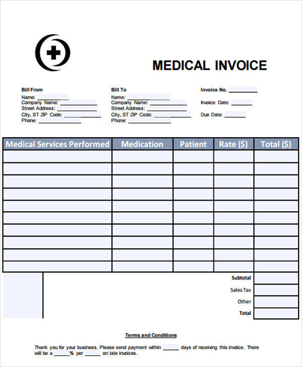 sample medical invoice 7 examples in word pdf
