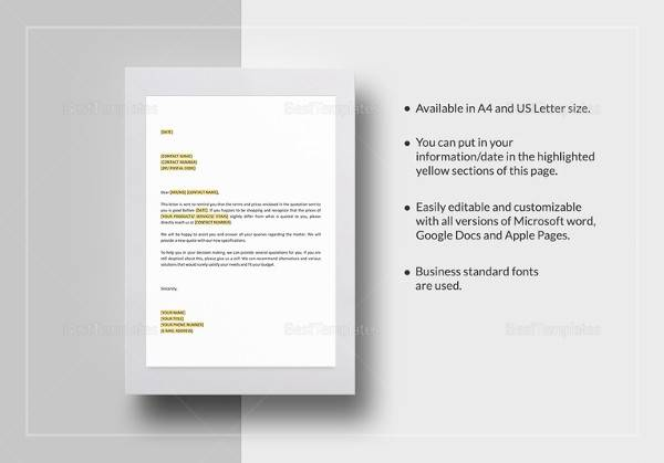 10+ Quotation Letter Samples \u2013 PDF, Word Sample Templates - graphic design quote template