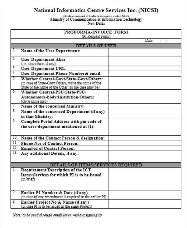 Proforma Invoices Document Features Customs Pro Forma Invoice - professional service invoice template