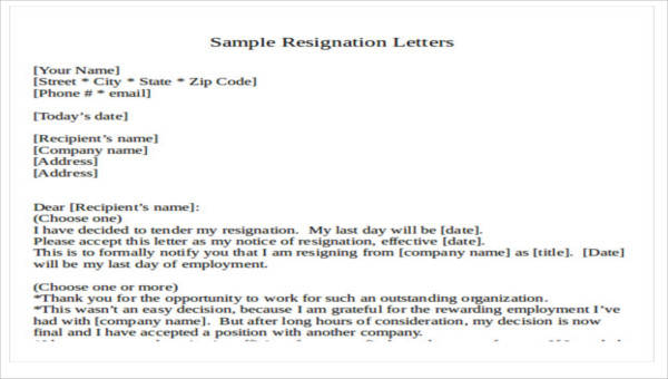 30+ Resignation Letter Formats  Templates - PDF, DOC