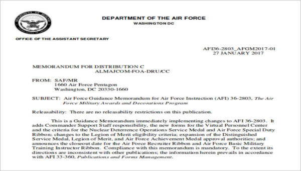 6+ Sample Air Force Recommendation Letters Sample Templates