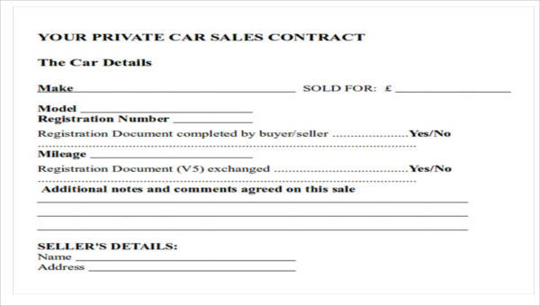 12+ Sample Car Sales Contracts Sample Templates - car sales contract