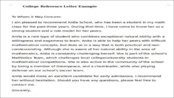 Sample College Reference Letter - 6+ Examples in PDF, Word