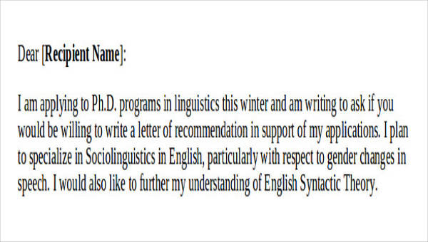 9+ Sample Recommendation Request Letters Sample Templates - sample recommendation request letter