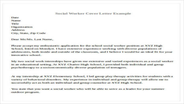 7+ Sample social worker cover letter - Free Sample, Example, Format