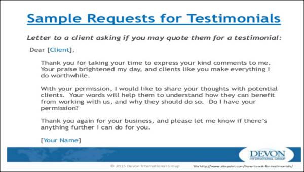 testimonial letter sample