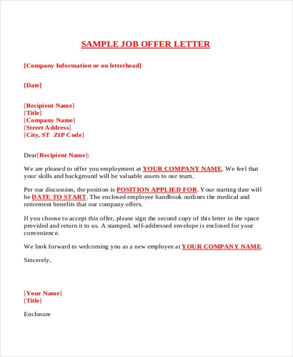 How To Accept A Job Offer Sample Acceptance Letters Letters In Pdf