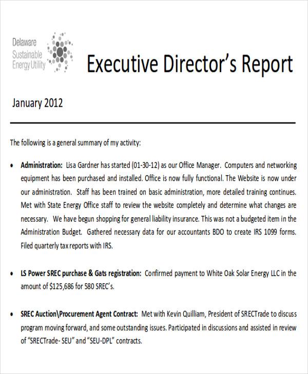 8+ Sample Executive Reports Sample Templates