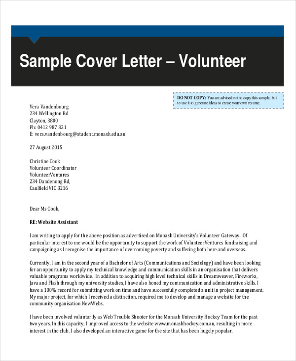 Un Volunteer Cover Letter Env1198748resumecloud