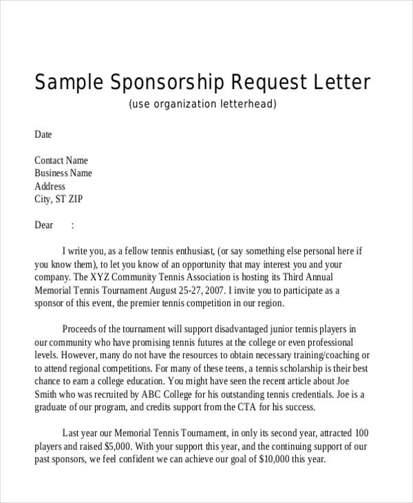 90+ Sample Letters in PDF Sample Templates - personal sponsorship letter