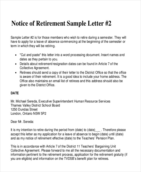 Letters in PDF - retirement letters