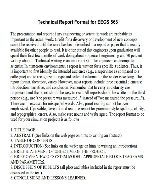 8+ Sample Technical Reports \u2013 PDF, Word Sample Templates