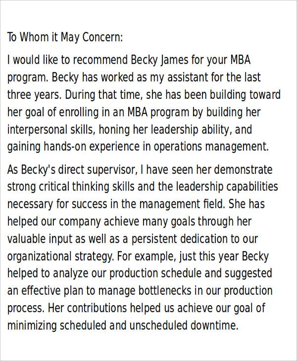 7+ Sample MBA Recommendation Letter - Free Sample, Example, Format - mba recommendation letter