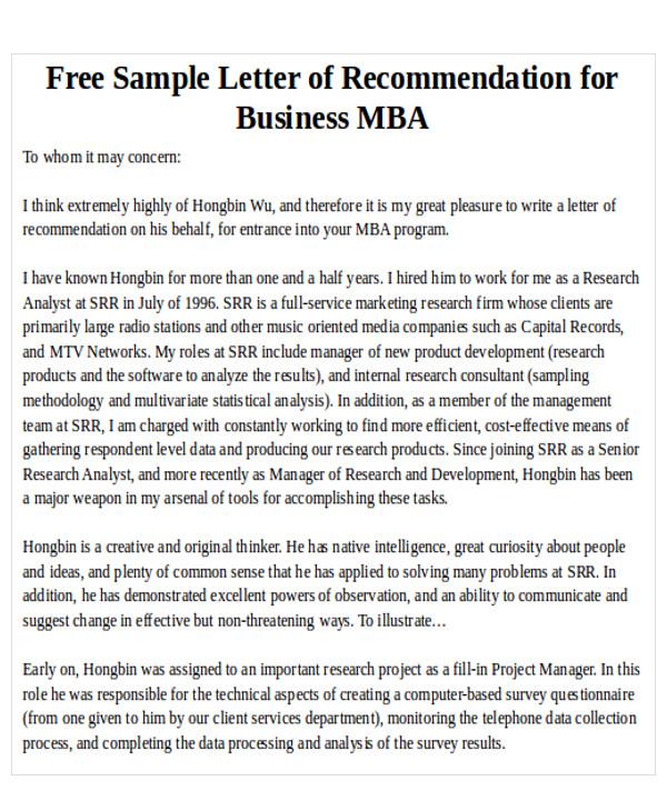 sample mba recommendation letter