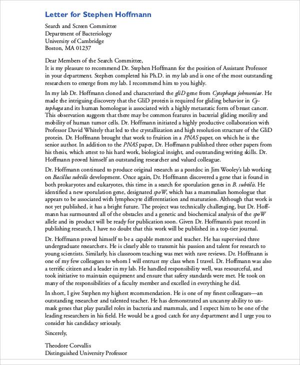 example recommendation letter for teacher