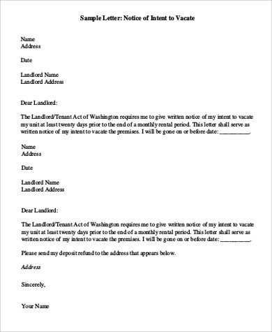 120+ Letter Examples Sample Templates - sample intent to vacate letter